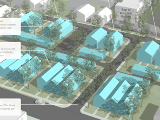 Rendering of aspirational multi-faceted neighborhood housing from the Maple Crossing Comprehensive Development Plan.