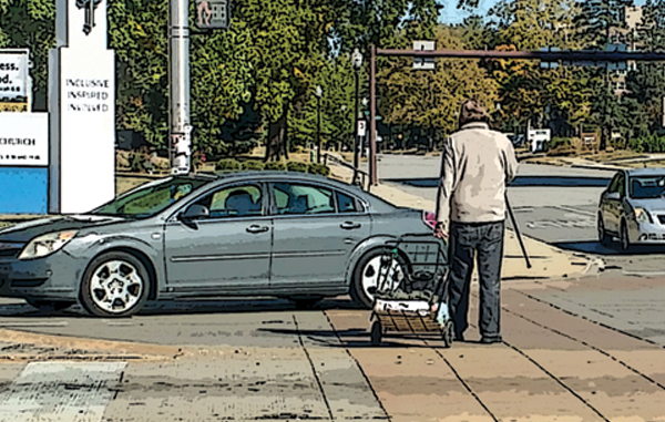 Image of older person crossing a busy street