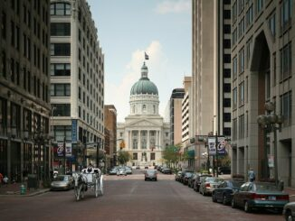 A view of the Indiana Statehouse looking west from Market Street