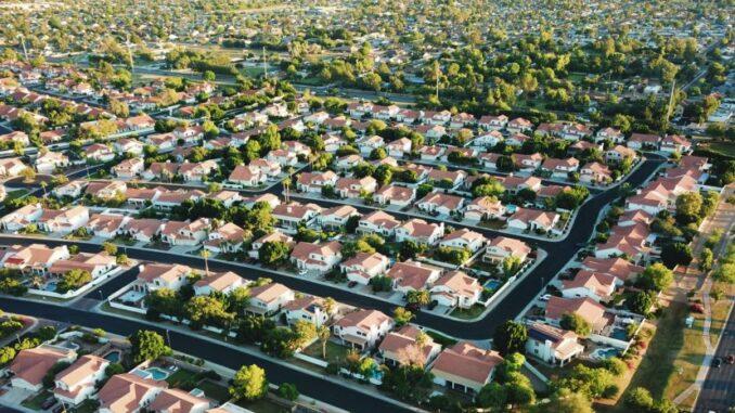 Aerial view of a dense housing neighborhood