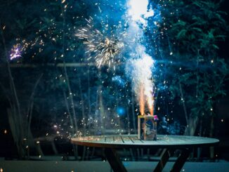 Fireworks going off on a table